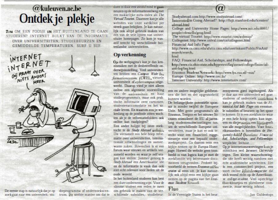 """Campuskrant: """"@kuleuven.ac.be: Ontdek je plekje"""""""