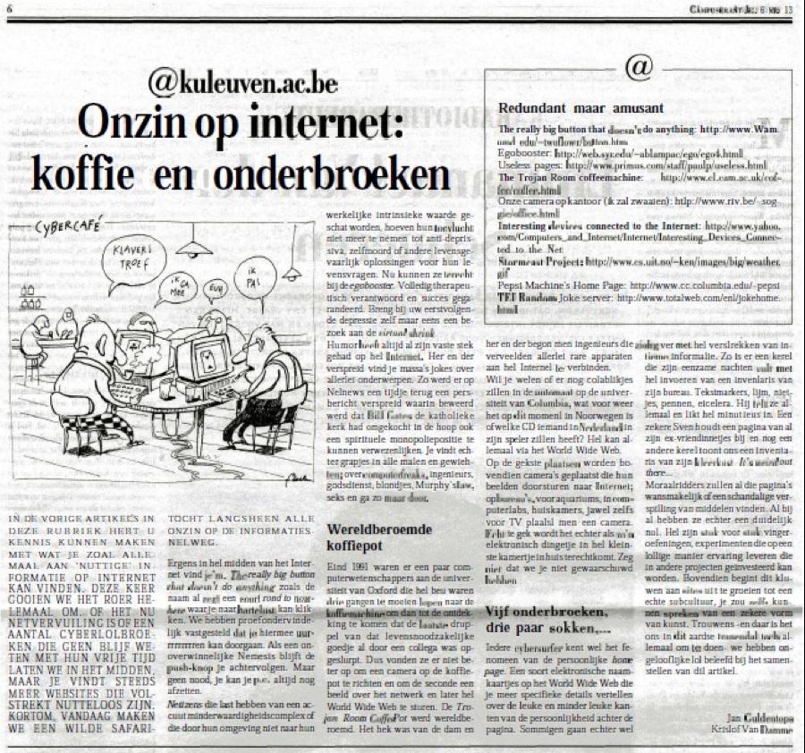 """Campuskrant """"@kuleuven.ac.be: Onzin op het internet: koffie en onderbroeken"""""""